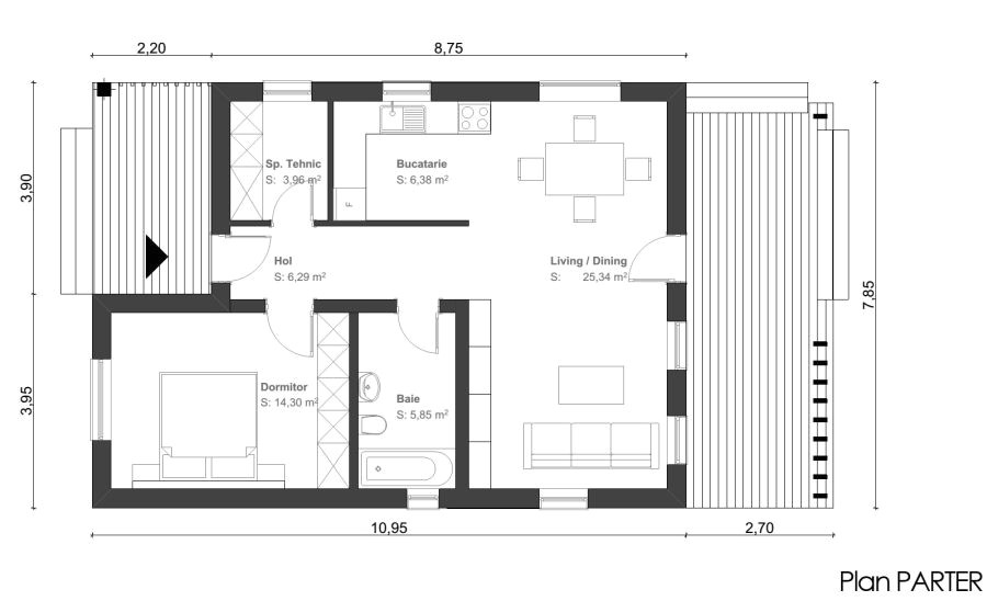 small one room house plans