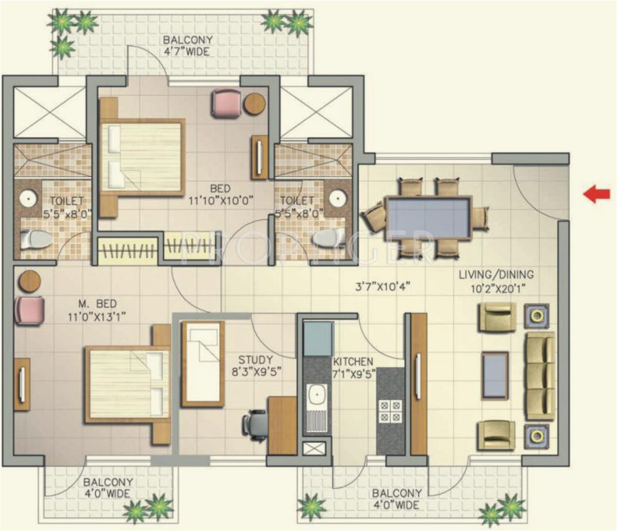 2bhk 2t 1345 sqft apartment