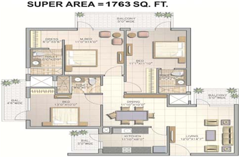 3bhk 3t 1763 sqft apartment