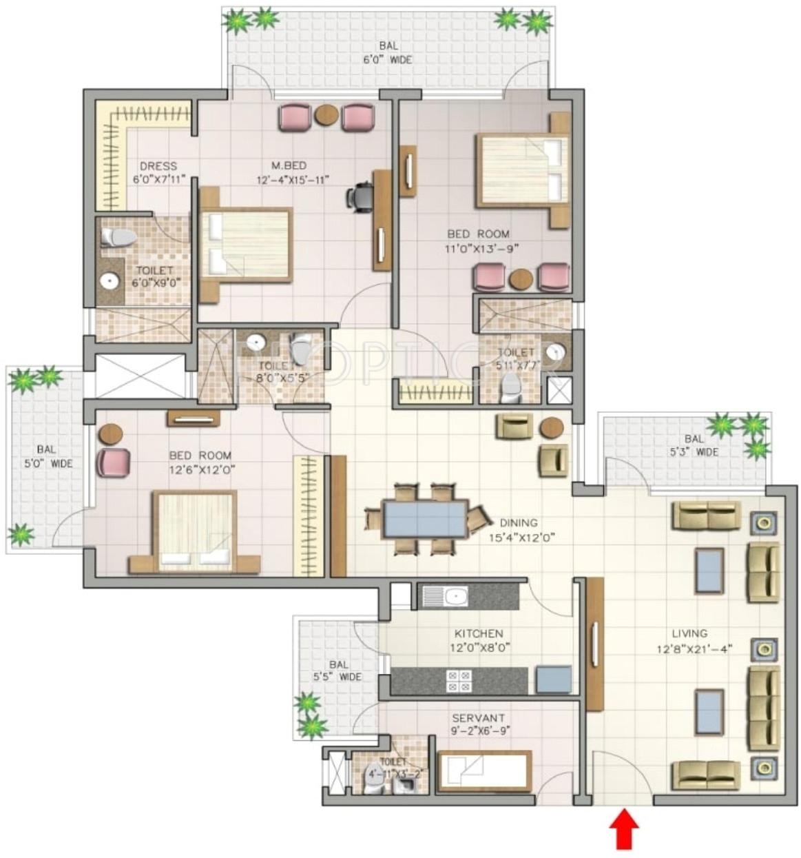 3bhk 4t 2300 sqft apartment