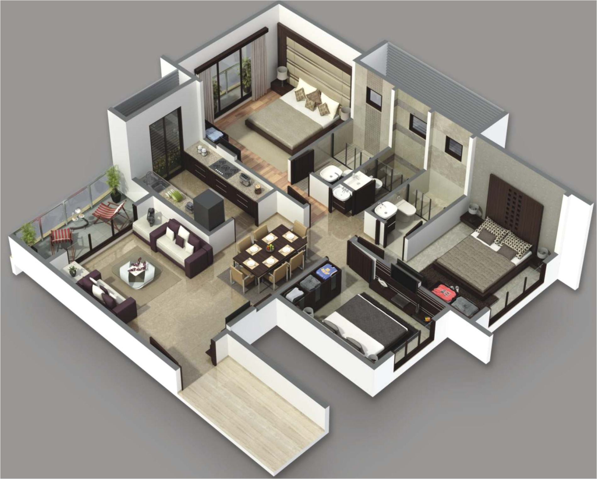3 bedroom house plans 3d design 3
