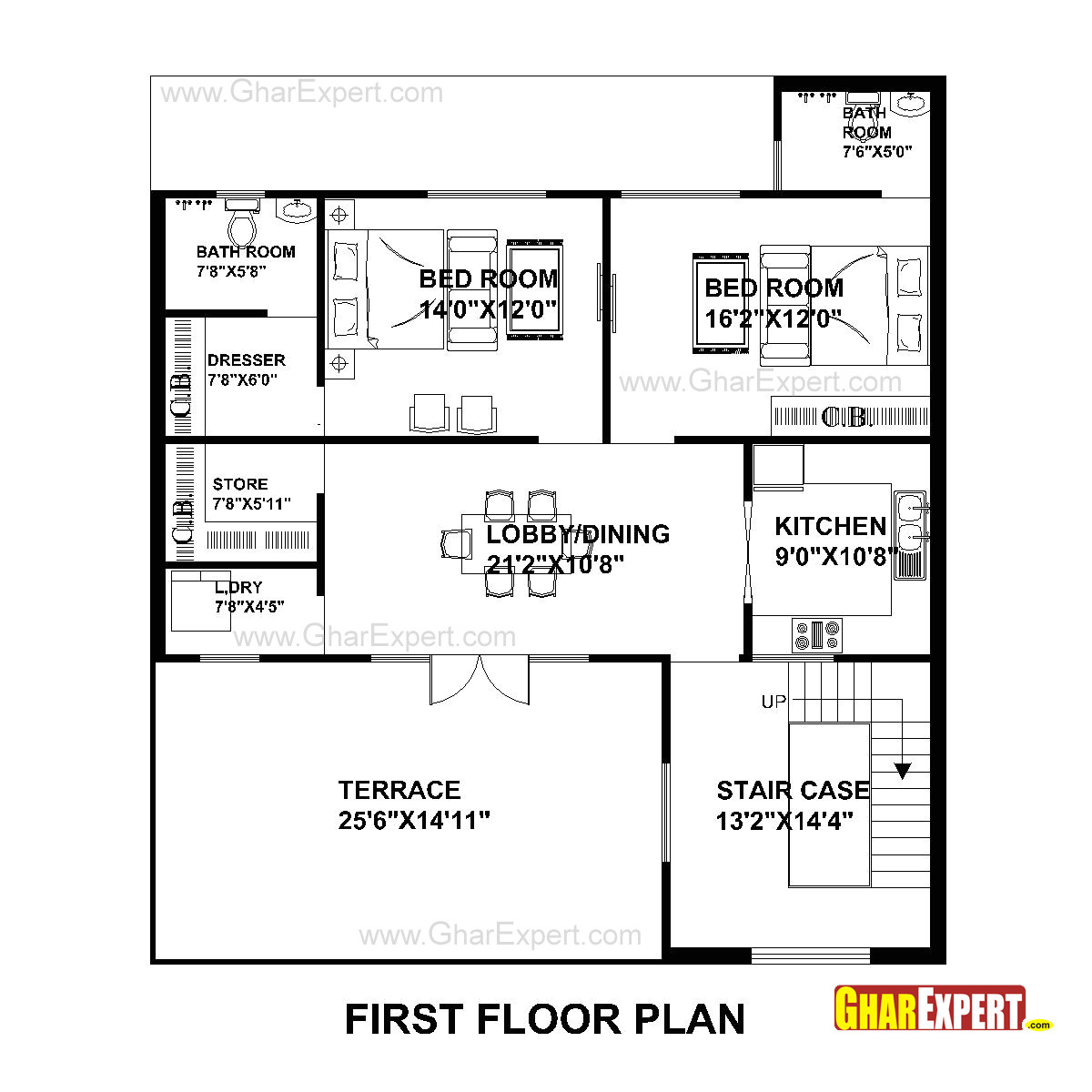 plan for 40 feet by50 feet plot plot size 222 square yards plan code 1591