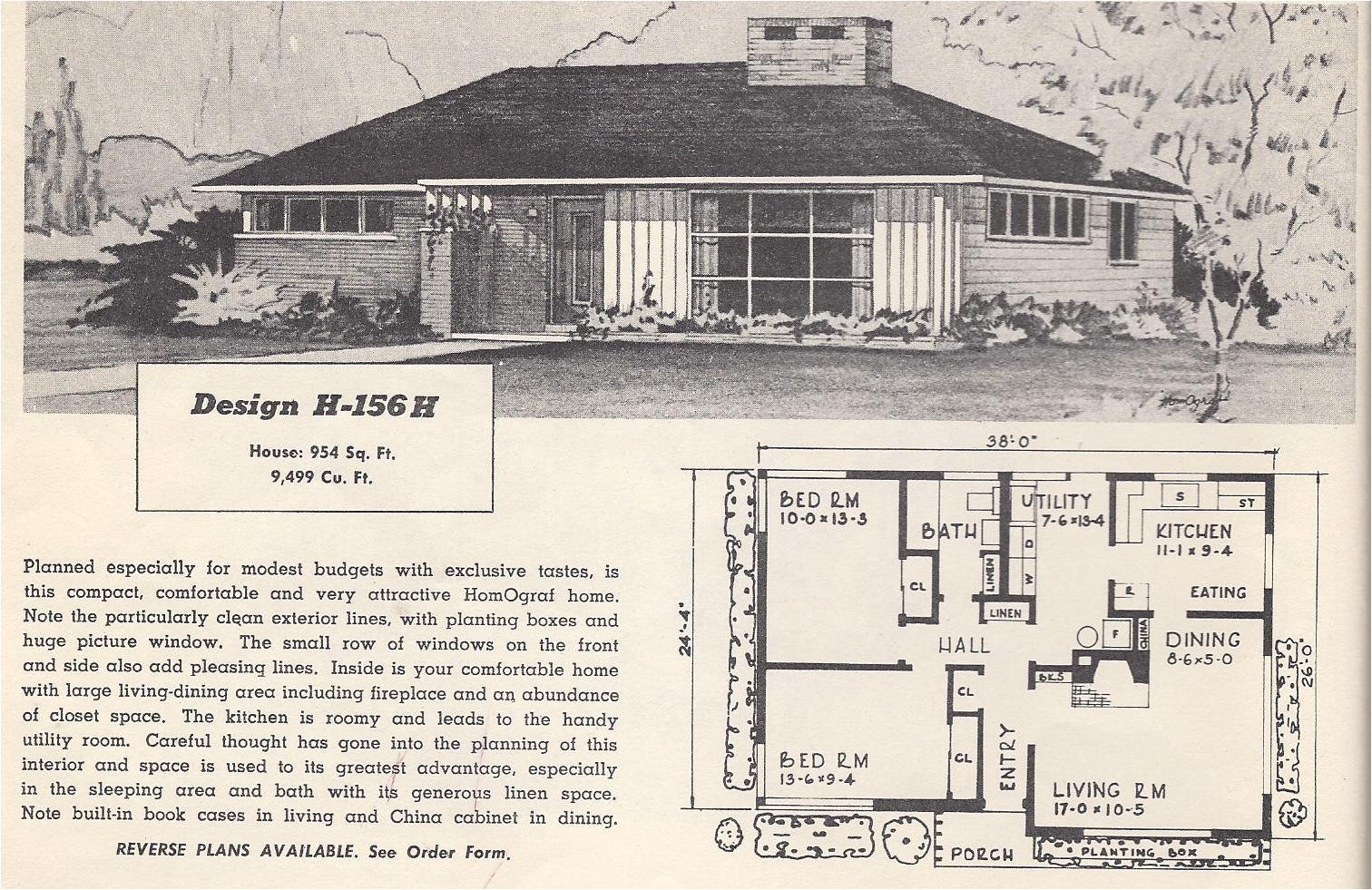 Retro Home Plans Vintage House Plans 156h Antique Alter Ego