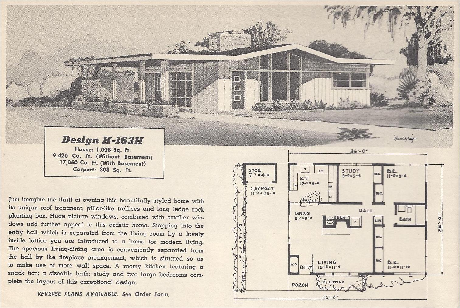 vintage house plans 163h