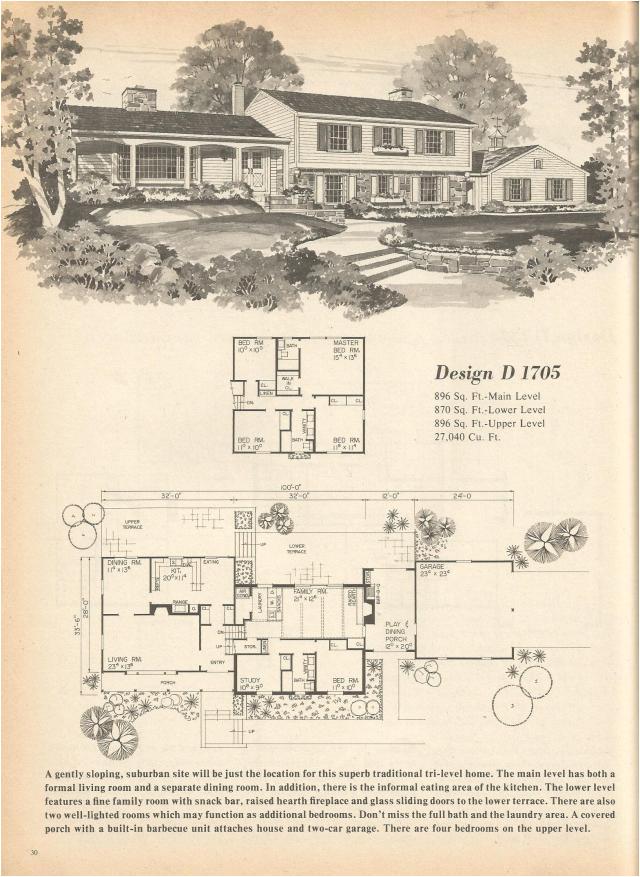 vintage house plans multi level homes part 4