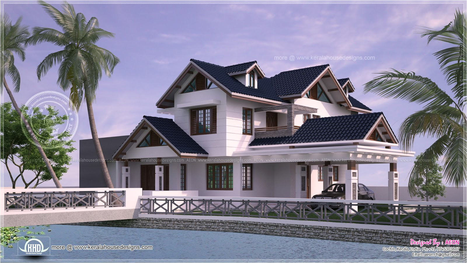River View House Plans River Side Kerala Style Residence Exterior Design Kerala