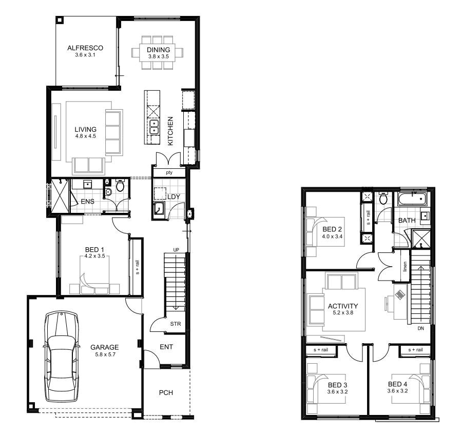 sample floor plans 2 story home