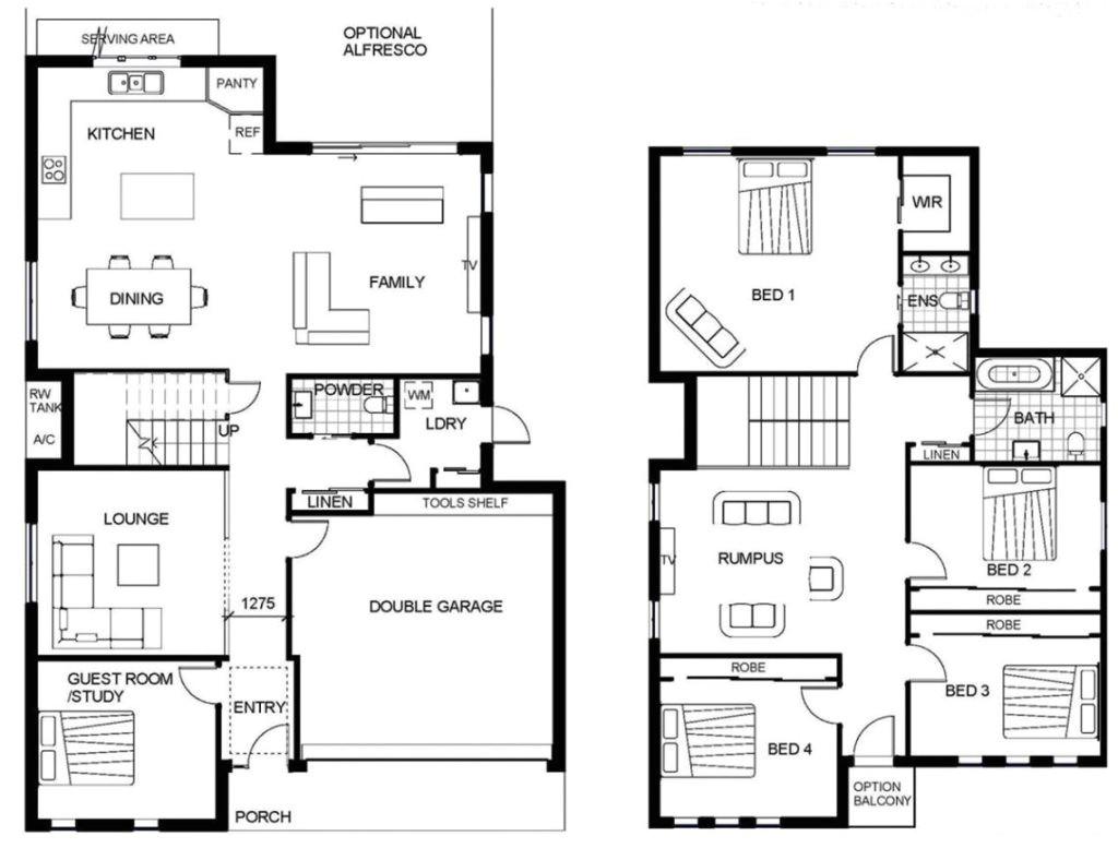 sample floor plans 2 story home