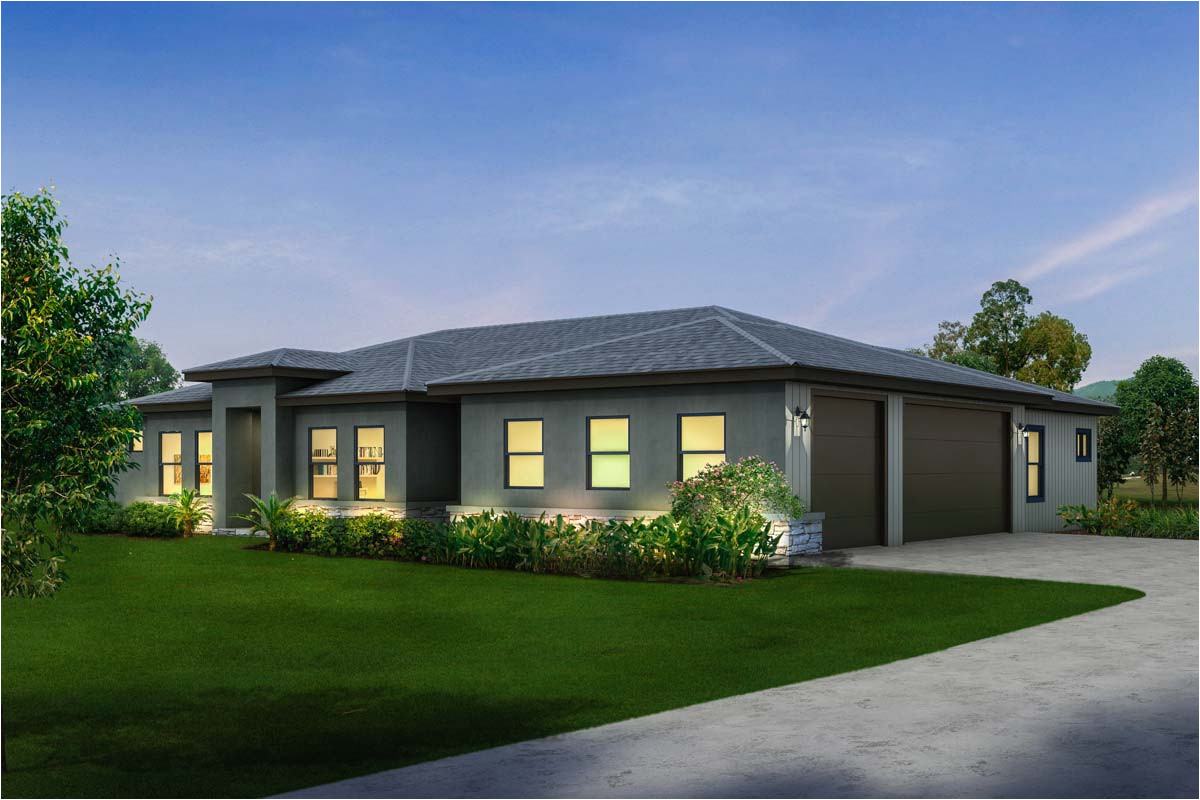 contemporary ranch with 3 car side load garage 430016ly