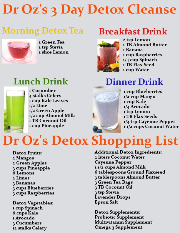dr ozs 3 day detox cleanse drink recipes printable shopping list