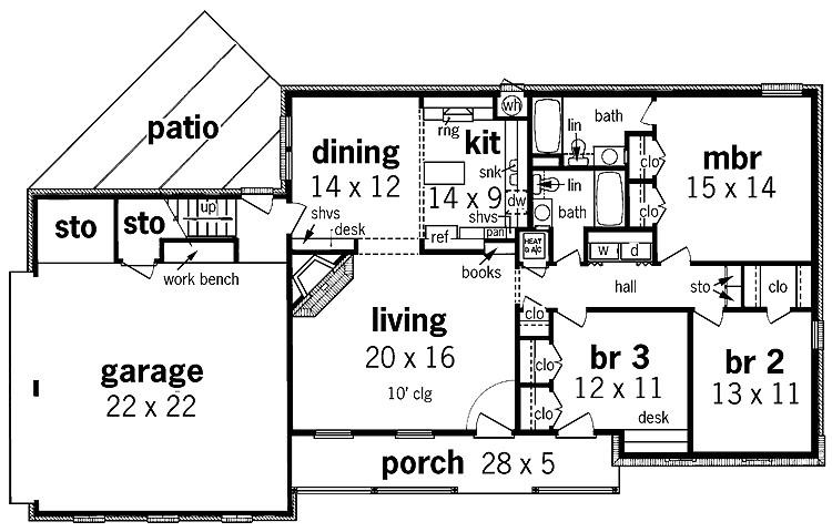 simple one story house plans floor plan enlarge