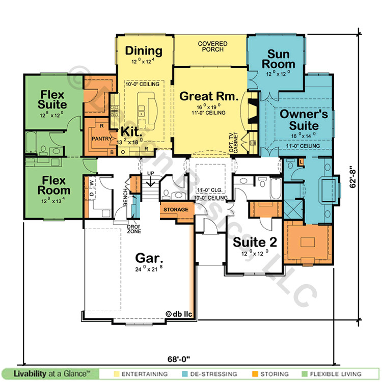 single story house plans with dual master suites