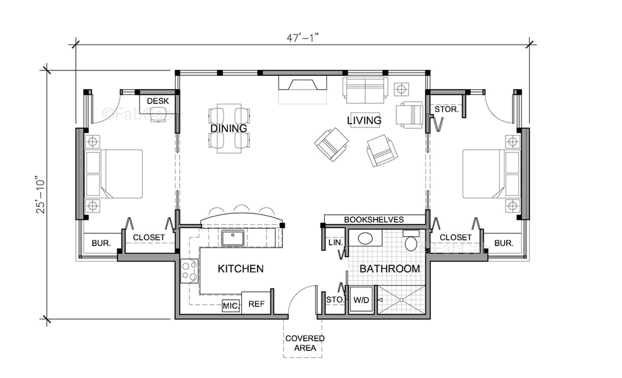 2 bedroom one story house plans