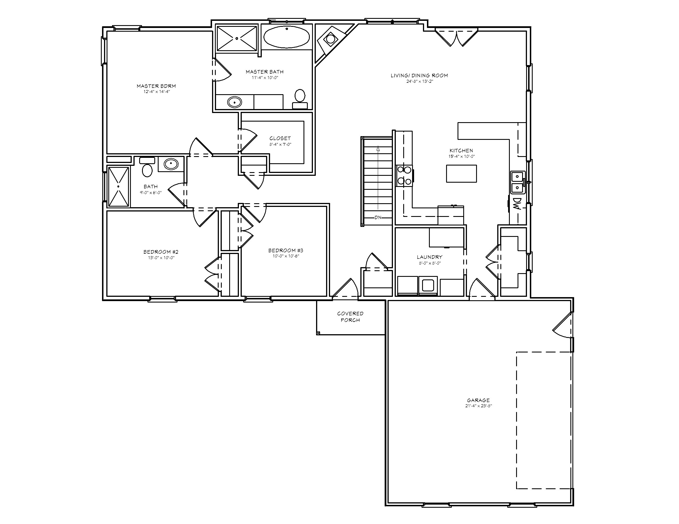one story home plans without garage