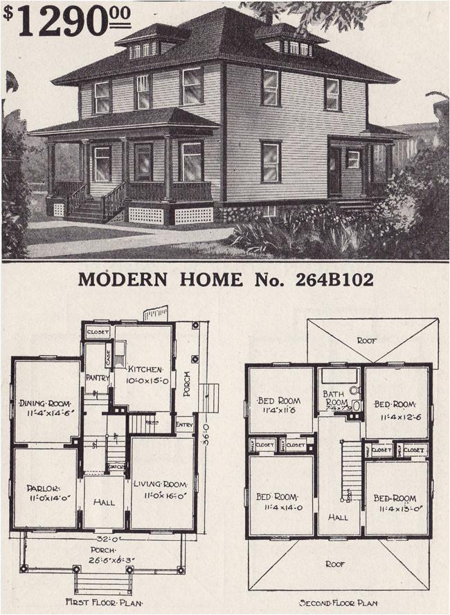 Small Foursquare House Plans 1916 Sears House Plans Modern Home 264b102 Prairie Box