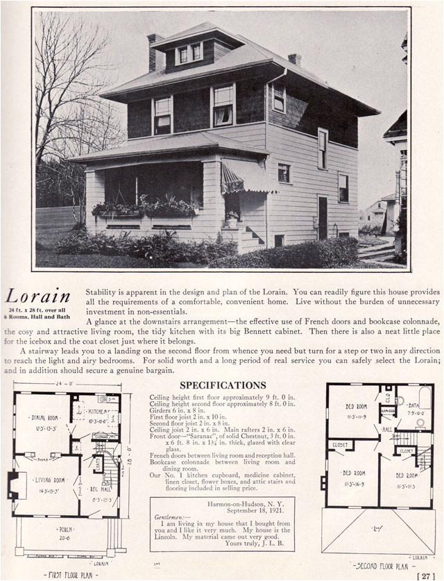 Small Foursquare House Plans Foursquare Prairie Box 1922 Lorain by Bennett Homes