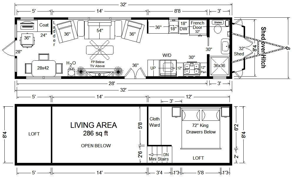 32 tiny house floor plan