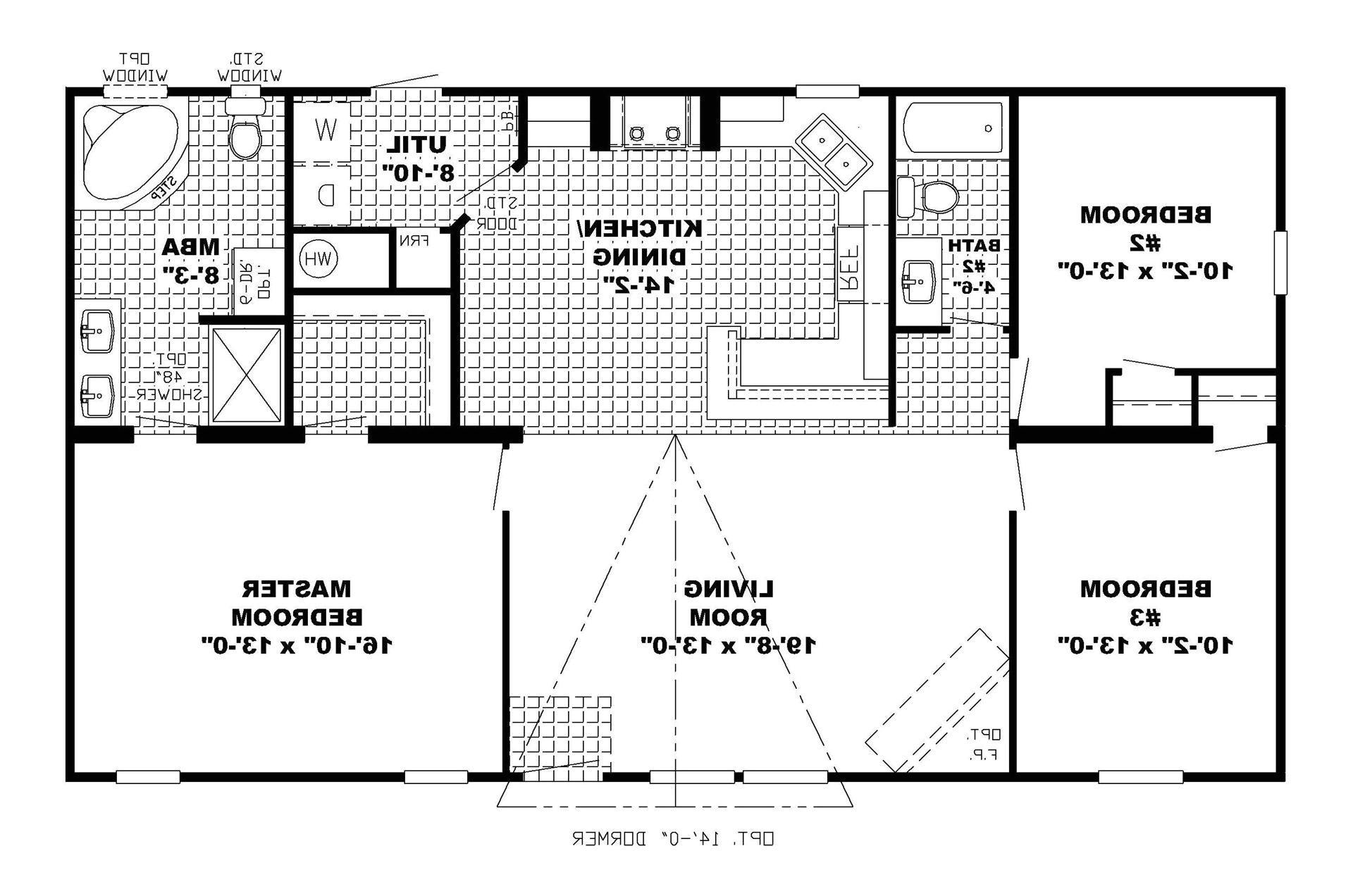 1 story open floor home plans