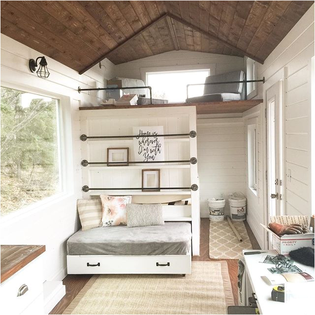 tiny house loft bedroom guest bed storage and shelving