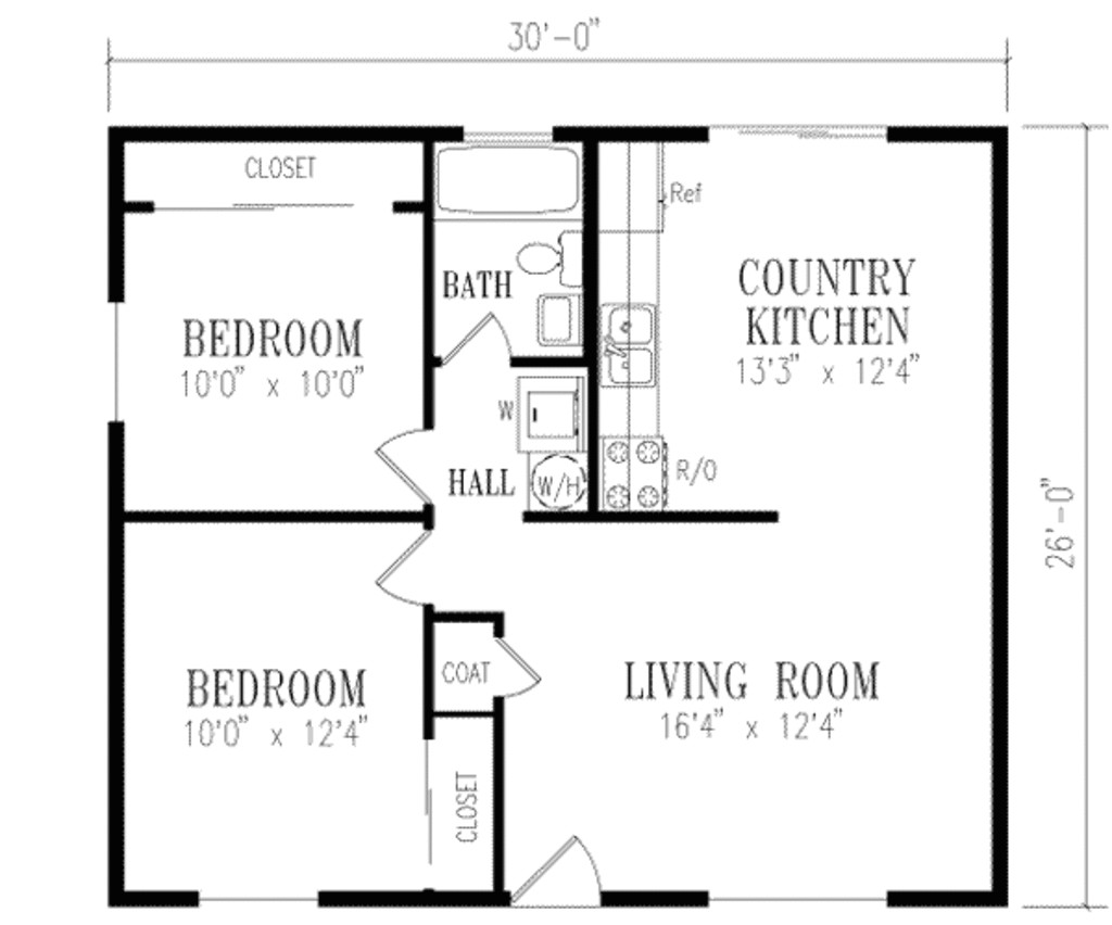 Small Home Plans00 Sq Ft Traditional Style House Plan 2 Beds 1 00 Baths 780 Sq Ft