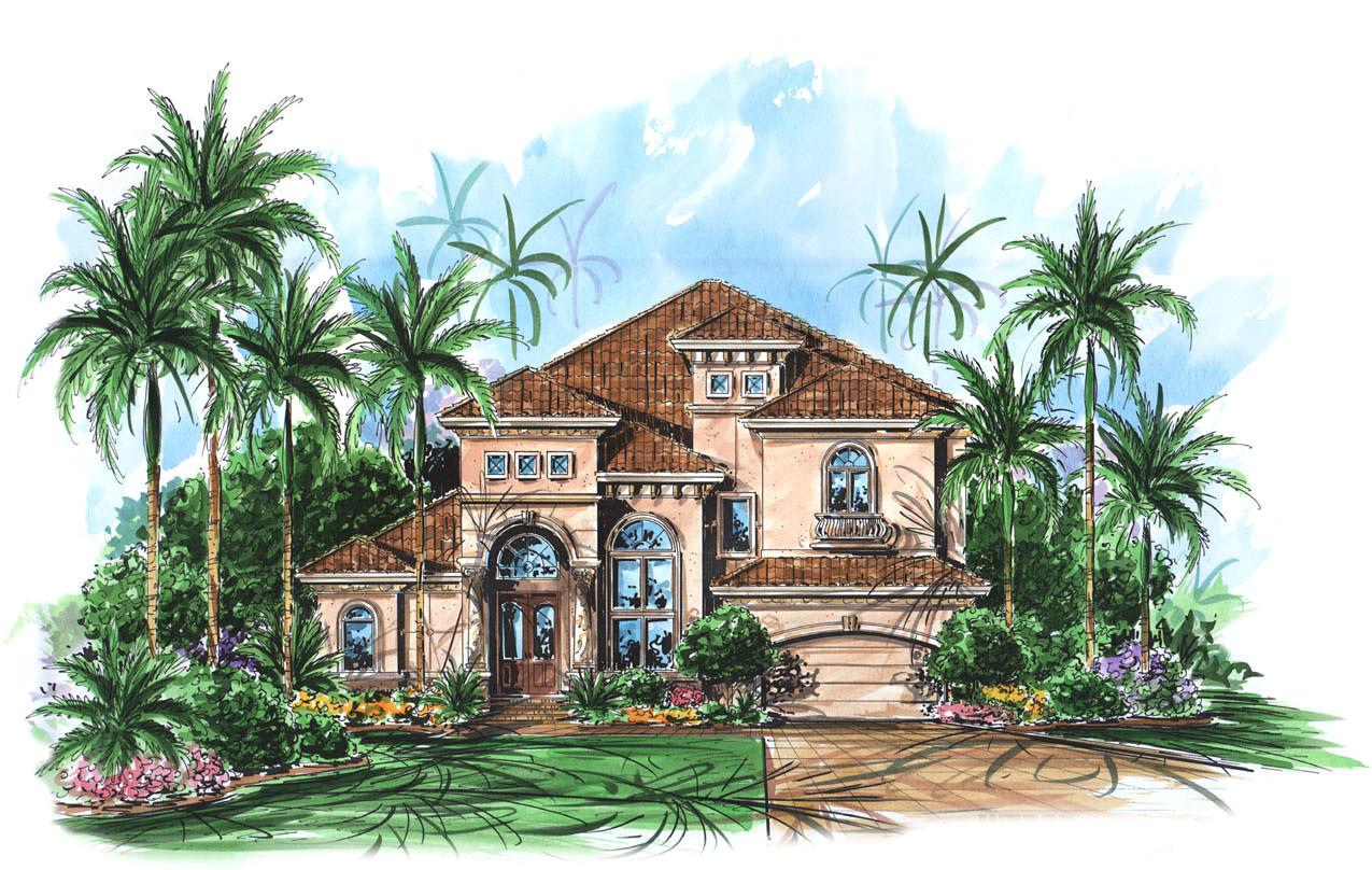 two story mediterranean house plan 66010we