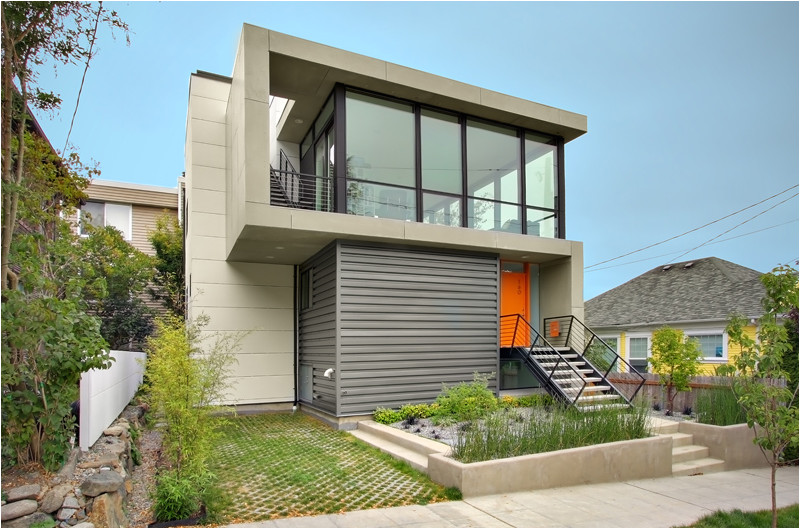 small modern house designs two floors with a front yard is spacious enough for planting and gardening