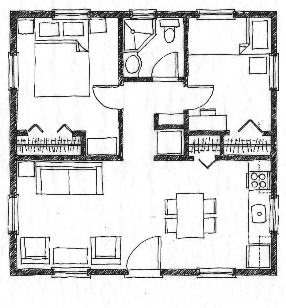 576 square foot two bedroom house plans