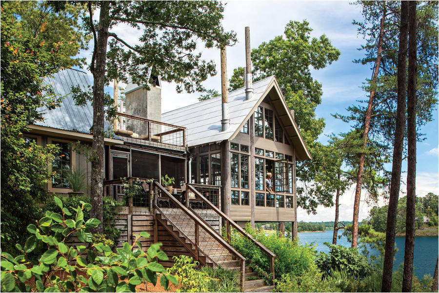 lake house in trees