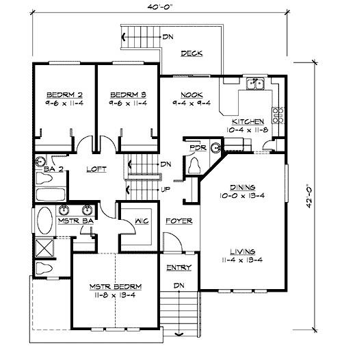 split level home plan for narrow lot 23444jd
