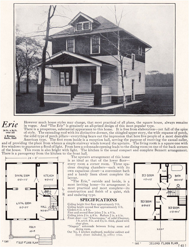 american 4 square house plans