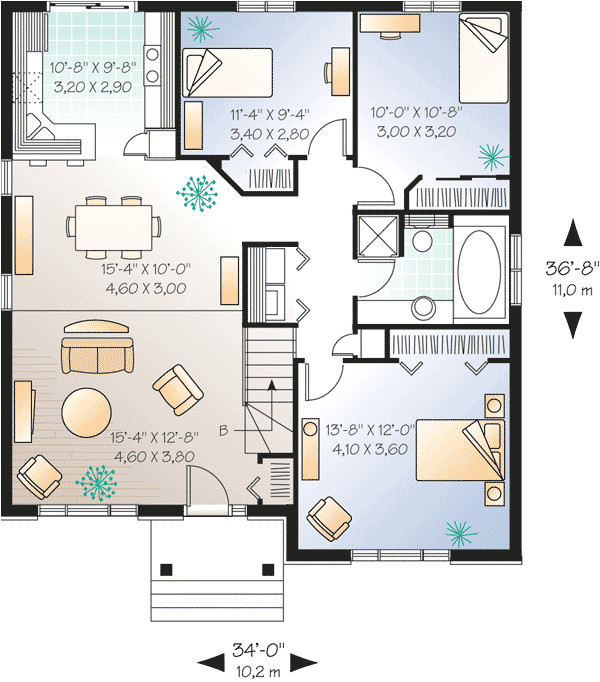 Starter Home Plans Simple Starter Home Plan with Options 21250dr