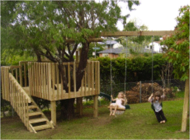 diy tree house with slide and swings