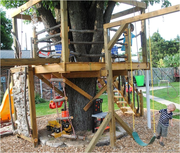 swing set with tree house plans