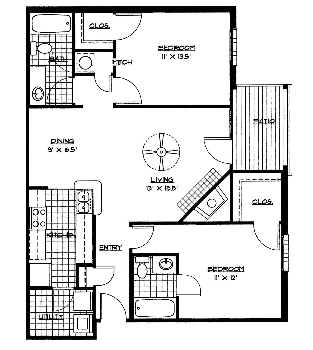Tiny Home Plans Pdf Small House Floor Plans 2 Bedrooms Bedroom Floor Plan