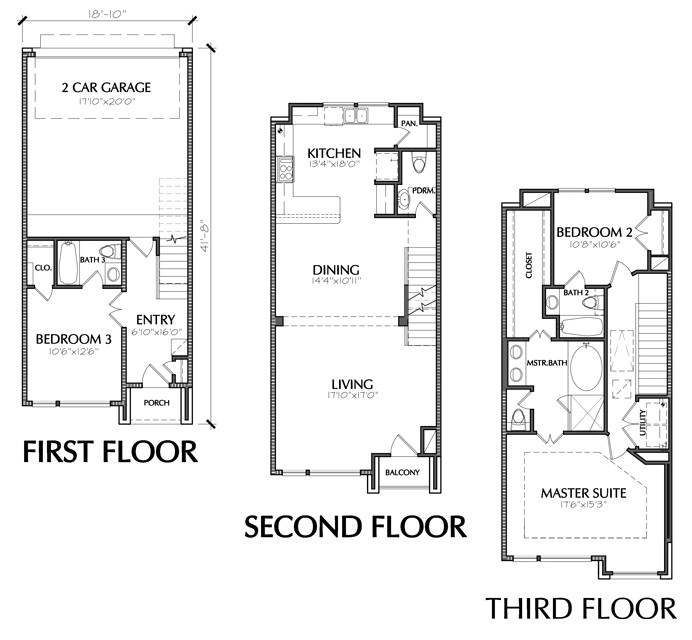 small townhouse floor plans for sale