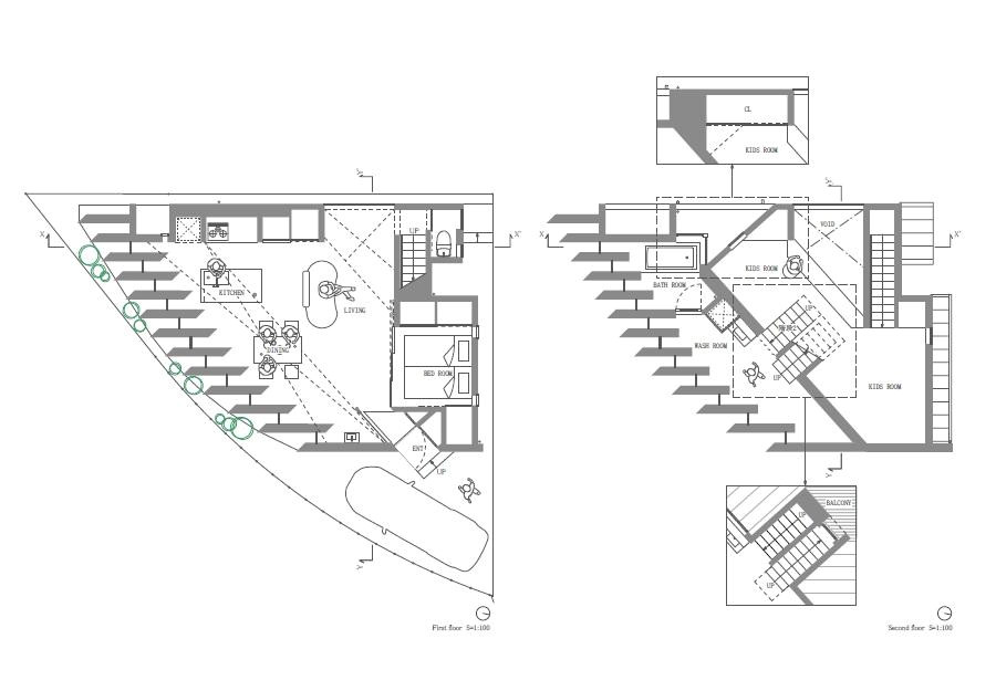 Triangular House Floor Plans Triangular House with One Room and Mezzanines