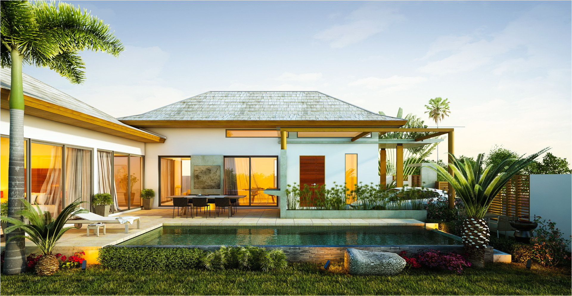 alluring tropical home with modern design and the touch of nature elements