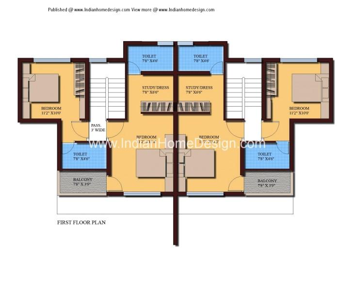 modern twin house plans of 1000 sqft 3