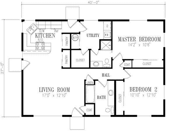 1080 square feet 2 bedrooms 2 bathroom ranch house plans 0 garage 15594