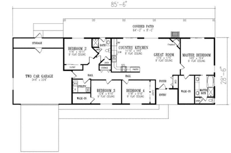 two bedroom ranch house plans