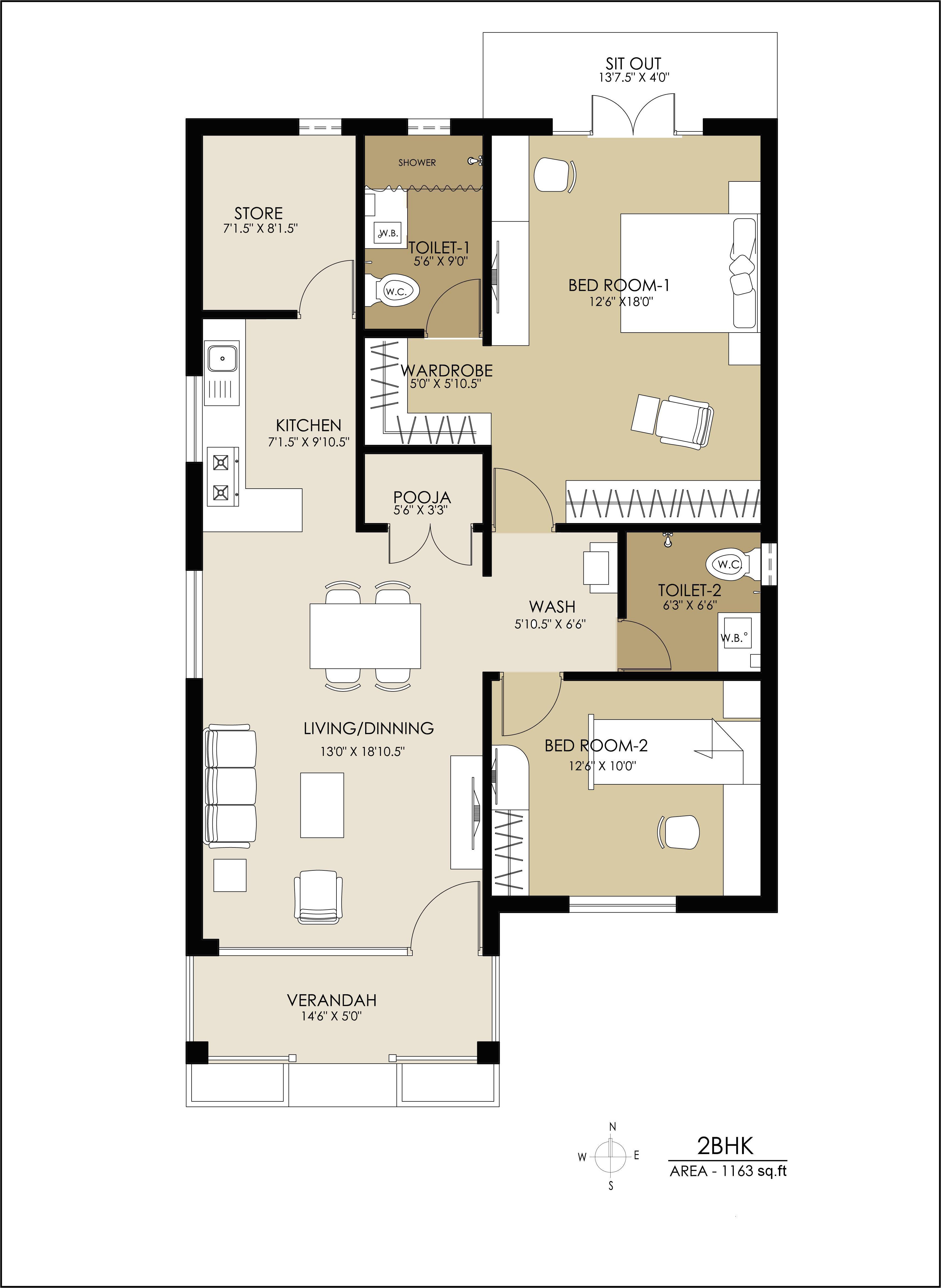 property plans for 2bhk home houzone