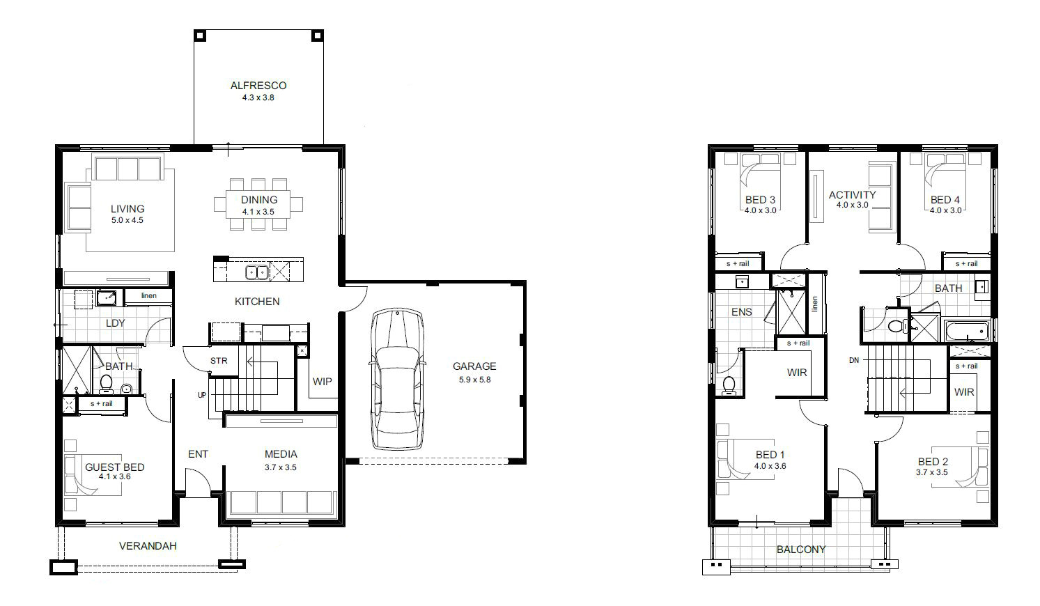 Two Story Home Plans 5 Bedroom House Designs Perth Double