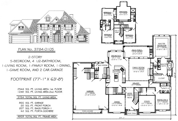 Two Story Living Room House Plans 5 Bedroom to Estate Under 4500 Sq Ft