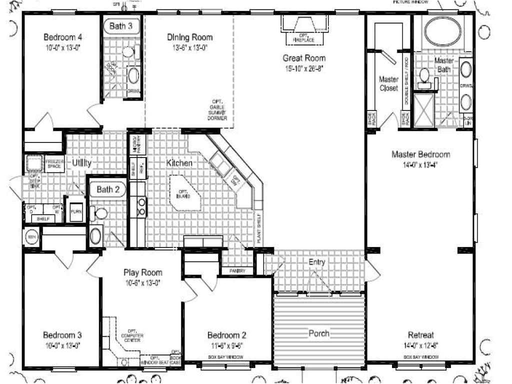 5 bedroom triple wide mobile homes floor plans