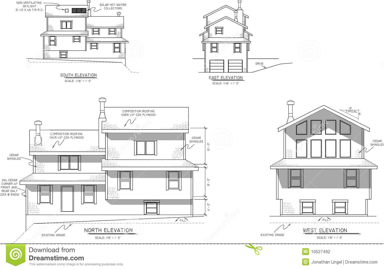 stock photography house plans elevation view image10527492
