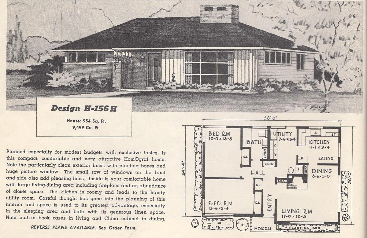 vintage house plans 156h