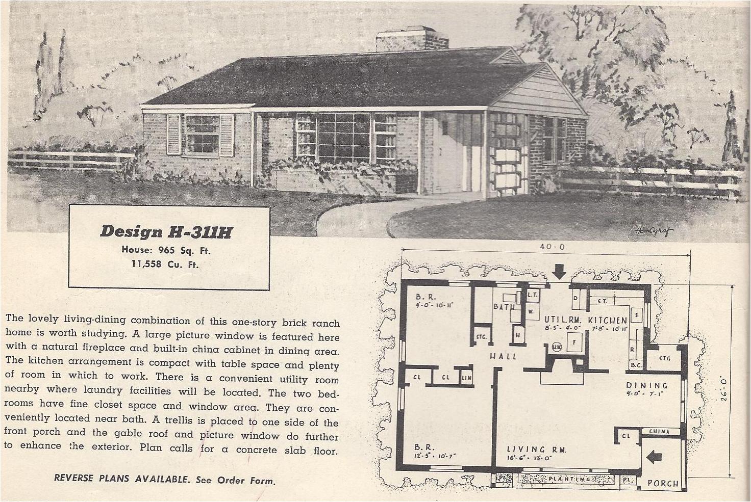 vintage house plans 311h