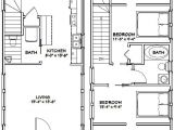16×28 House Plans 16×28 Tiny House 2 Bedroom Pdf Floor Plan 810