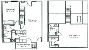 2 Bedroom 2 Bath with Loft House Plans Floor Plan Two Bedroom Loft Woodsview Apartments