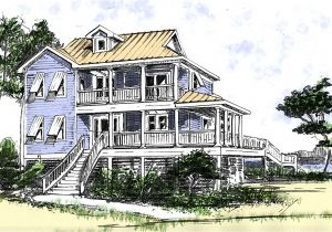 2 Story Beach Cottage House Plans Beach House Plan with Two Story Great Room 13034fl